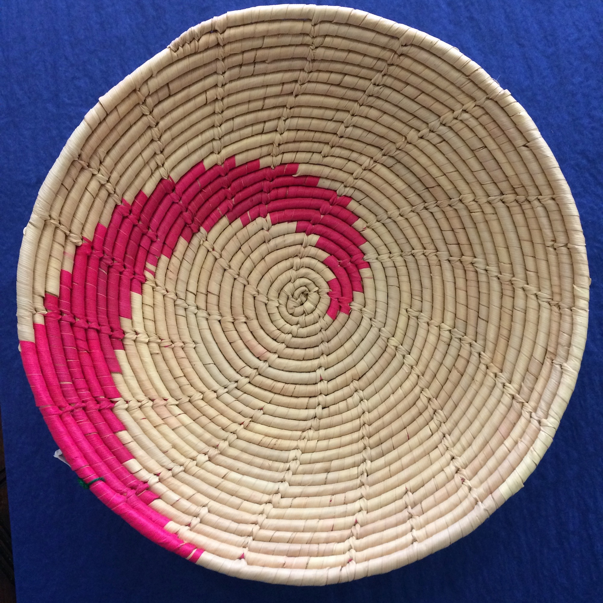 Medium Handwoven Basket with Pink Swirl