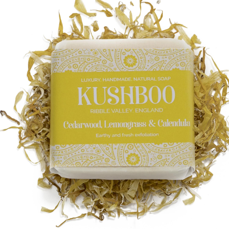 Kushboo Cedarwood, Lemongrass and Calendula Soap