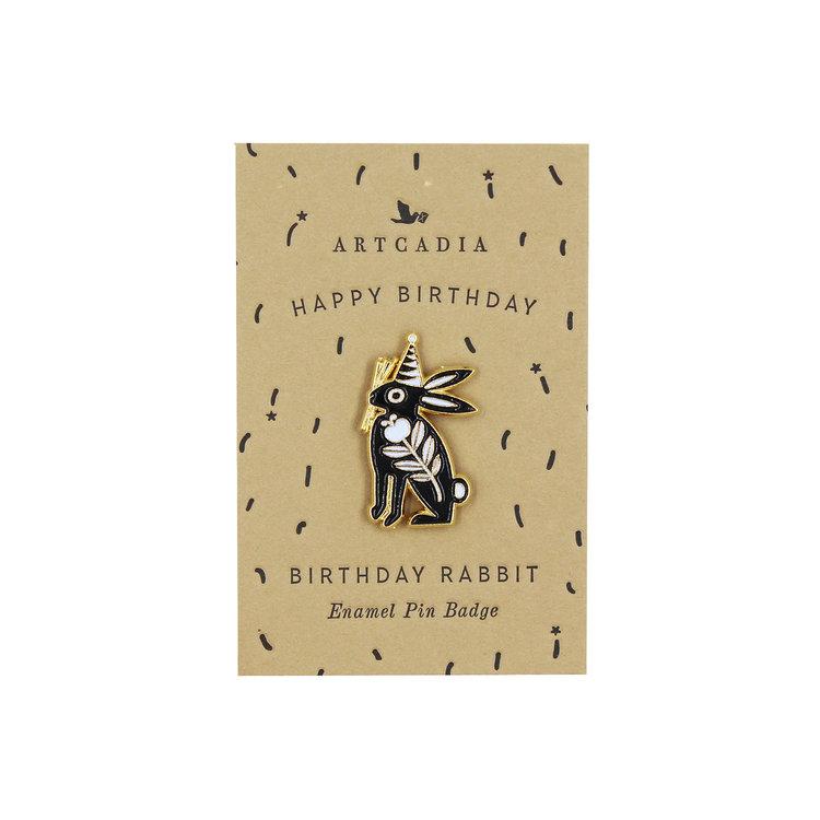 Birthday Rabbit Enamel Pin Badge by Artcadia