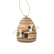 Painted Tin Beehive Hanging Decoration