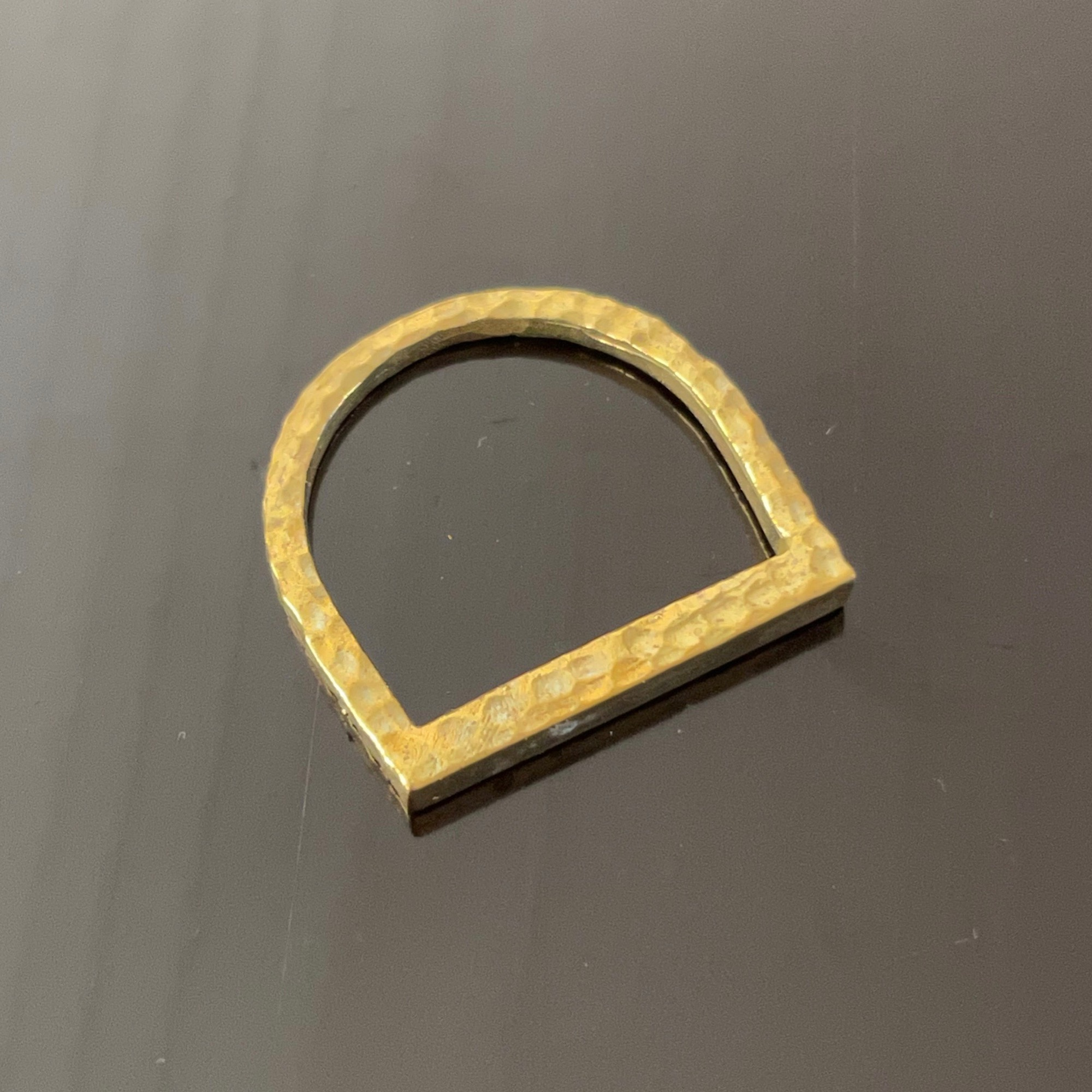 Irth Hammered Brass Stirrup Ring