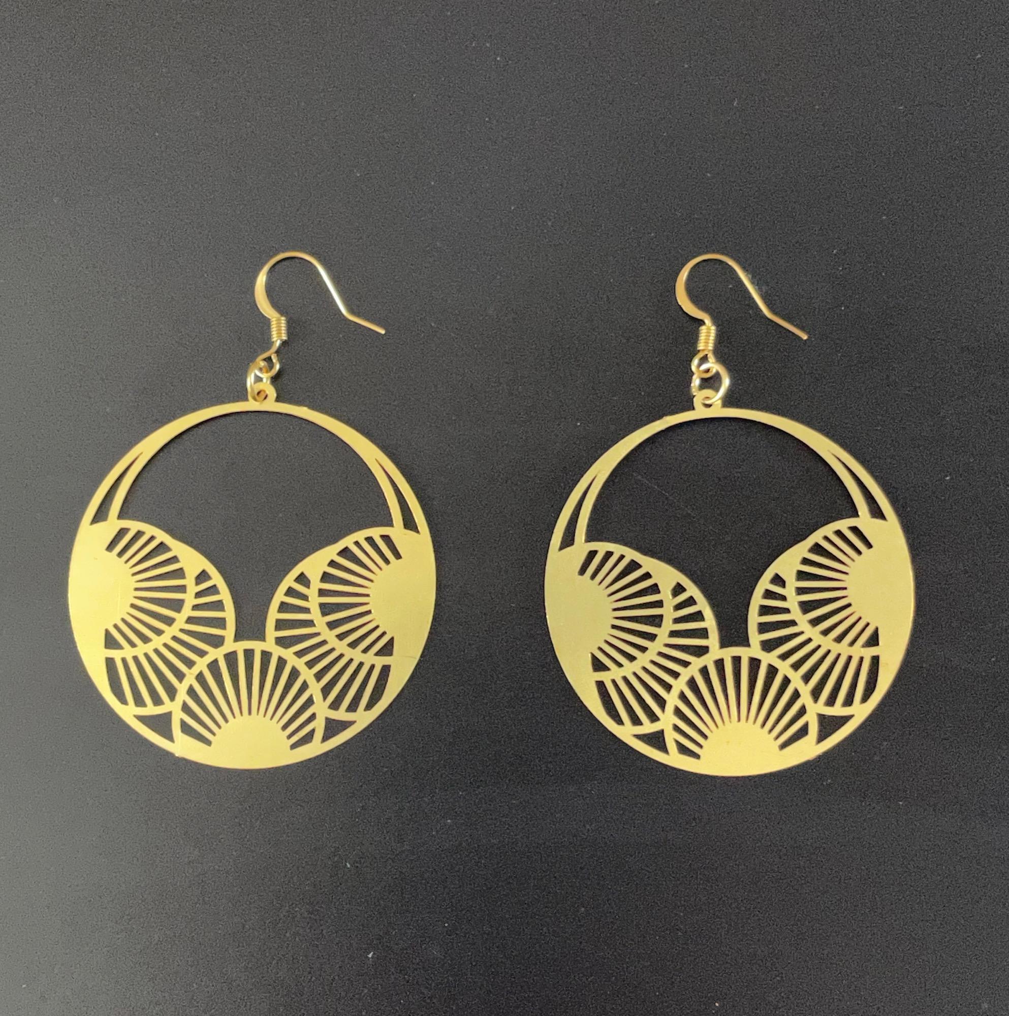 Irth Kaori Brass Disc Earrings