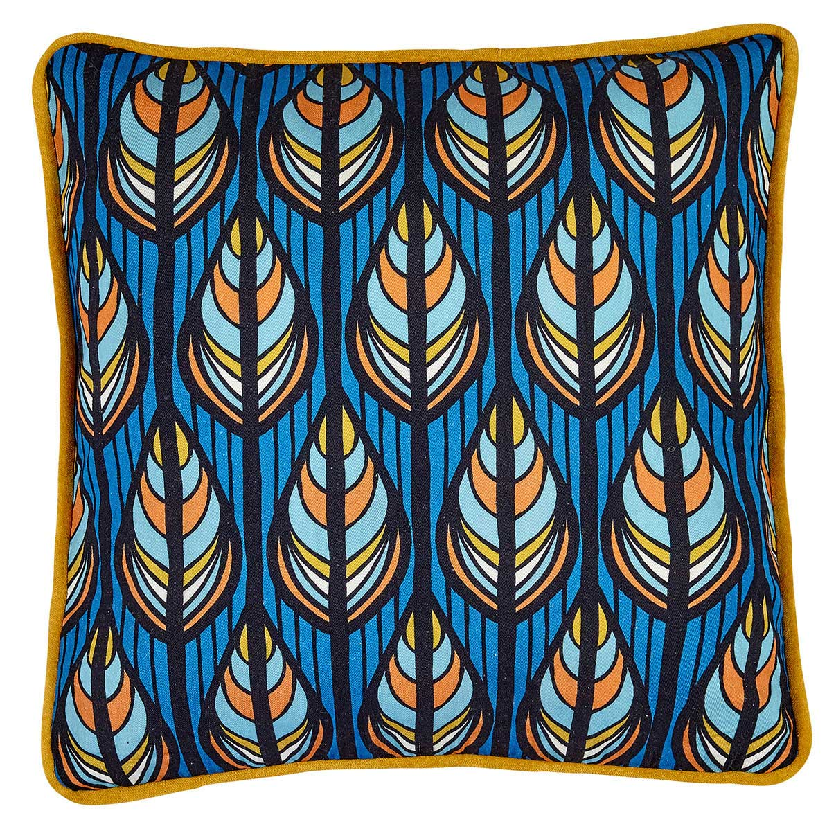 Liv Peacock Cotton & Velvet Cushion