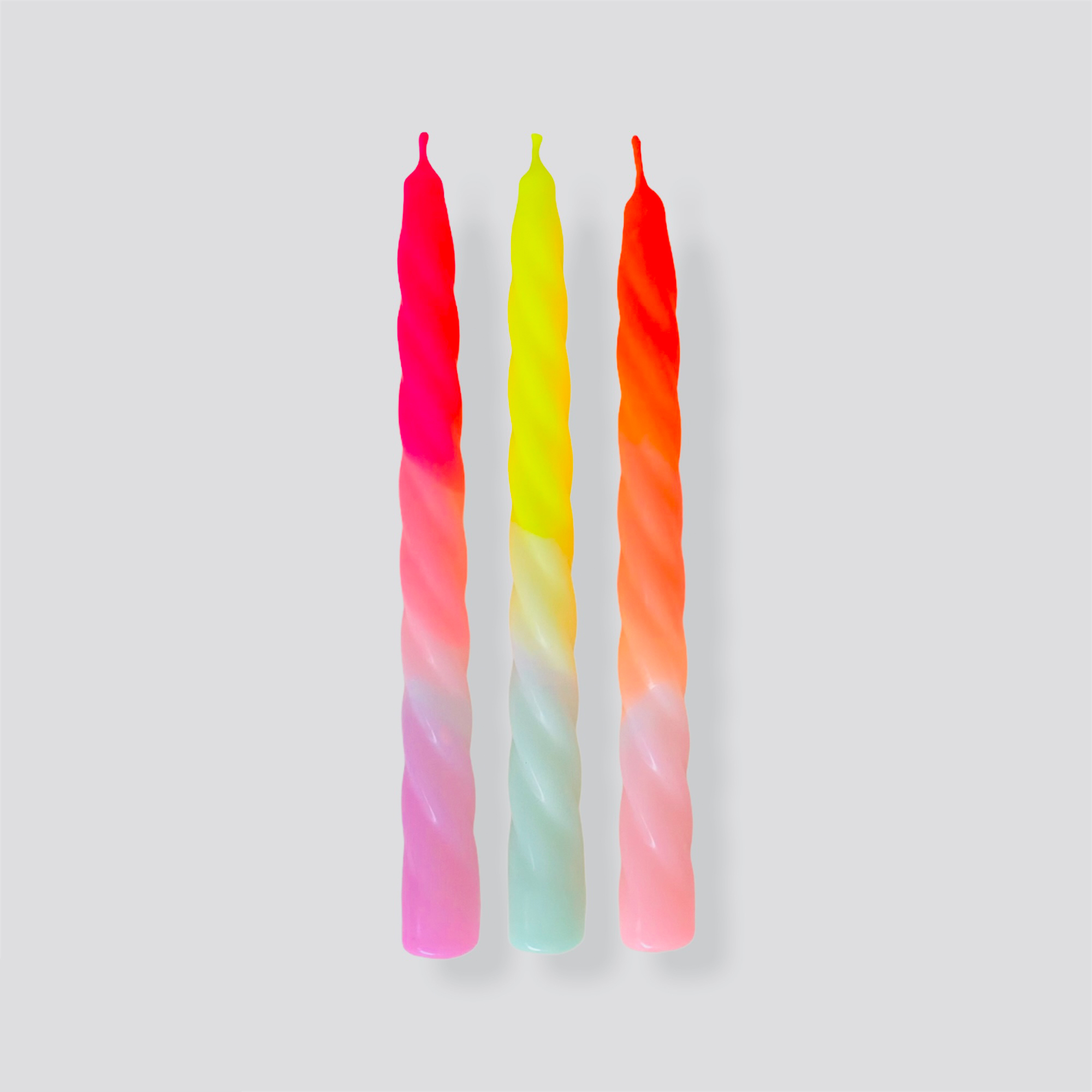 Dip Dye Twisted Candles in Shades of Fruit Salad