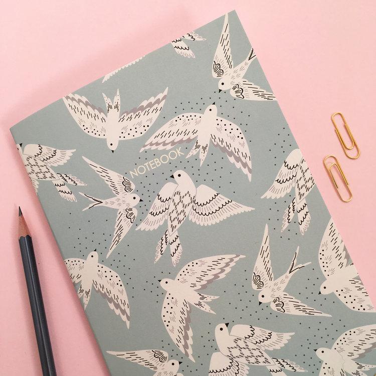 A5 'Hanging Out' Bird Notebook by Elvira Van Vredenburgh