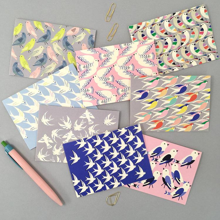 Set of 8 Mini Colourful Bird Notecards by Elvira Van Vredenburgh