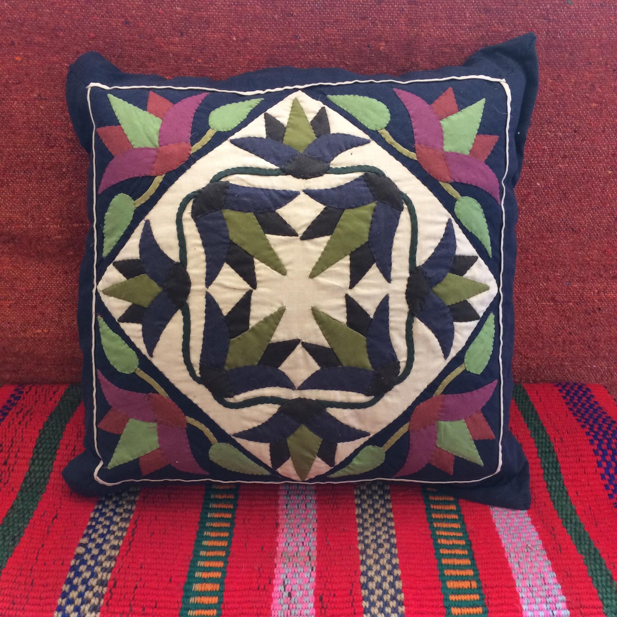 Egyptian Handmade Khayamiya Cushion with Lotus Pattern
