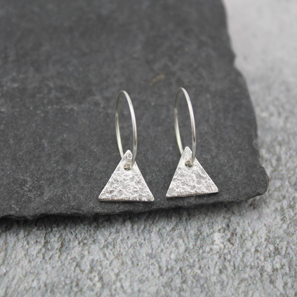 Silver Textured Triangle Charm Hoops