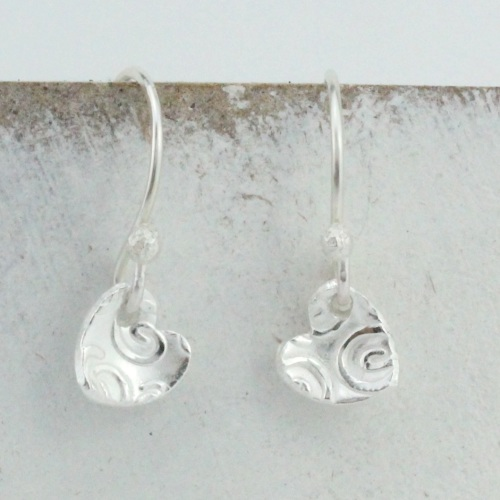 Silver Paisley Textured Heart Earrings by Lucy Kemp