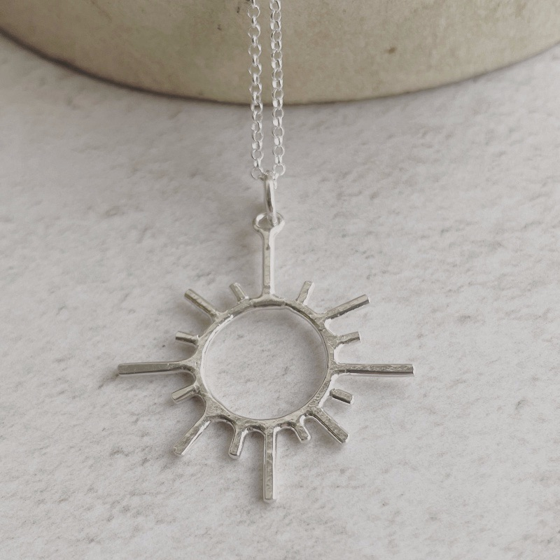 Sterling Silver Sun Pendant by Lucy Kemp