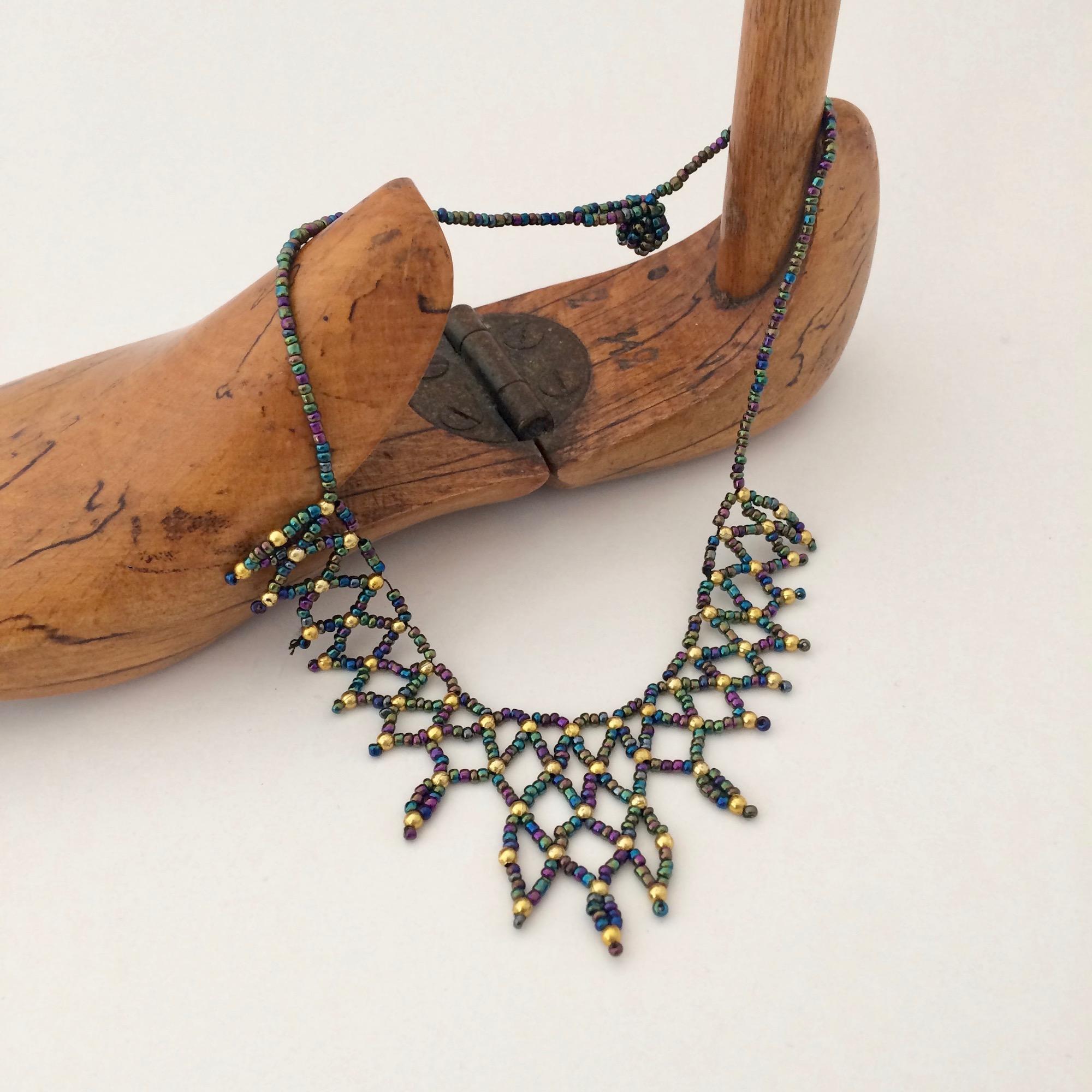 Bedouin Blue-Green & Golden Beaded Necklace