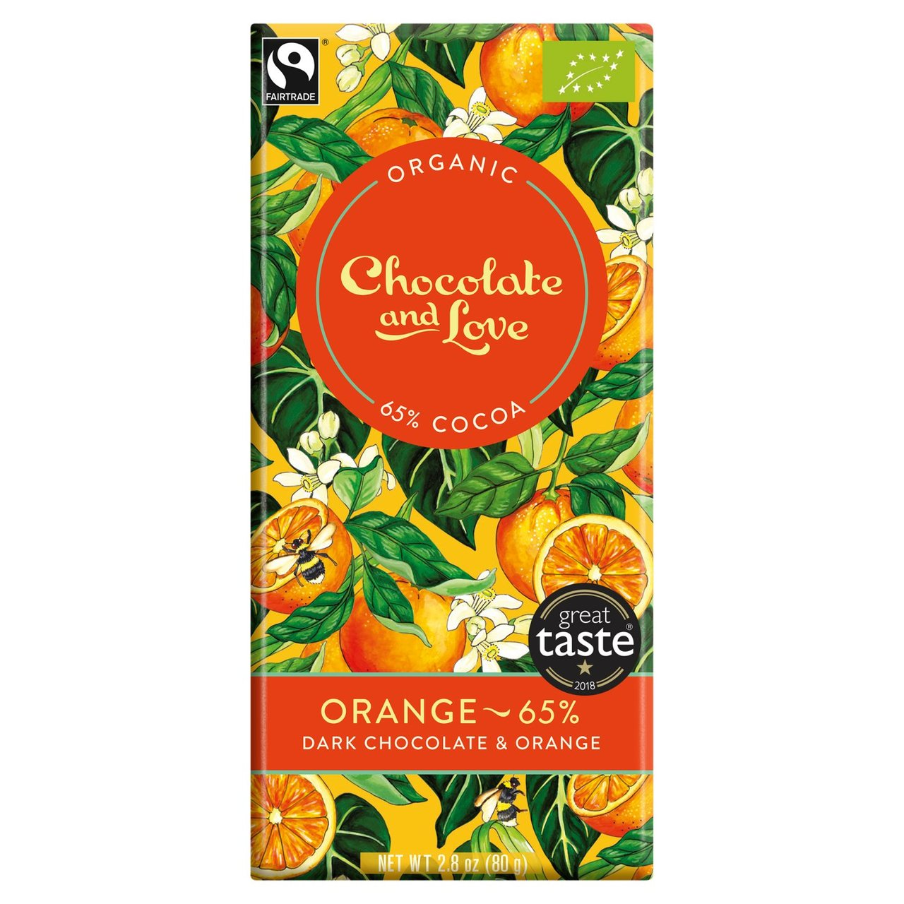 Orange Chocolate & Love Organic Fairtrade Chocolate Bar