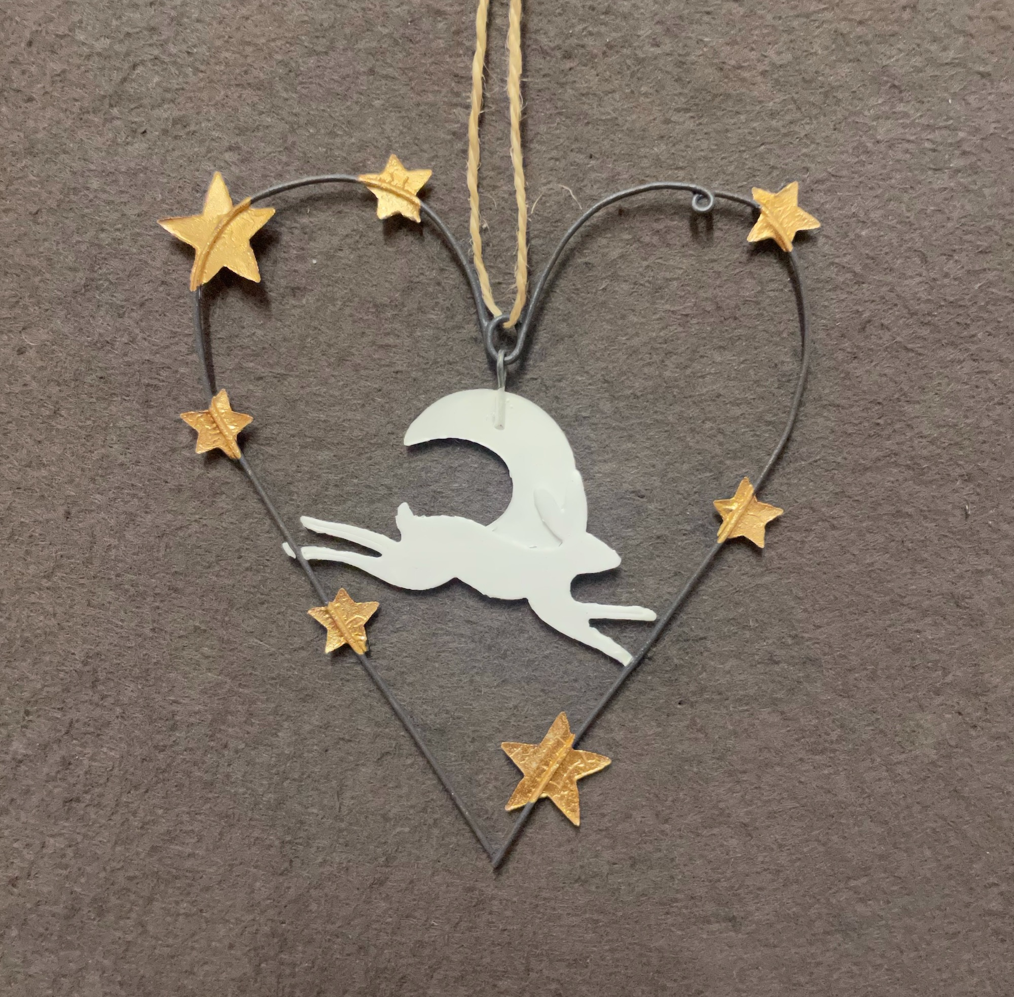 Arctic Hare & Moon Heart-shaped Hanging Decoration