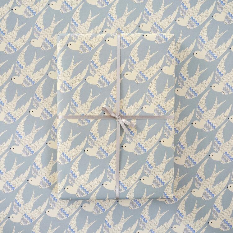 Birds in Blue Gift Wrap by Elvira Van Vredenburgh