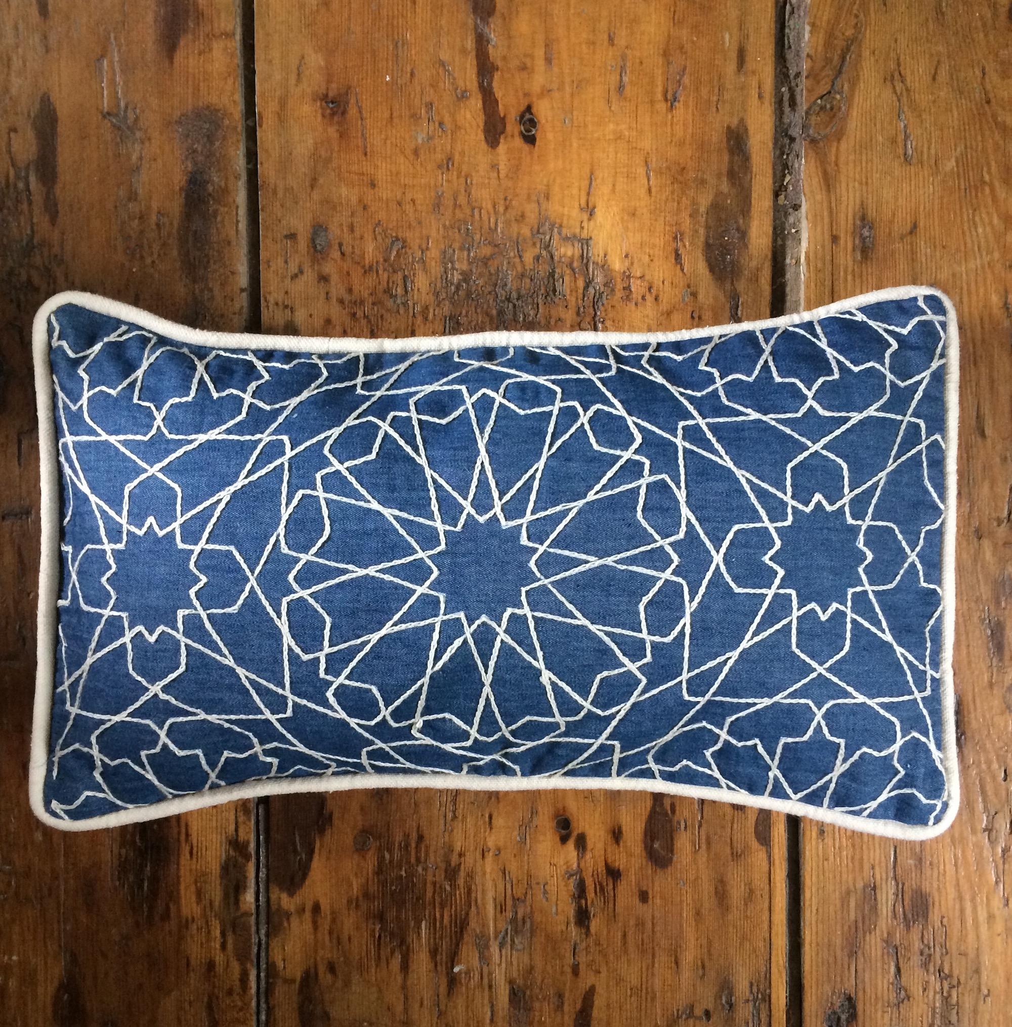 Arabic Design Embroidered Denim Cushion