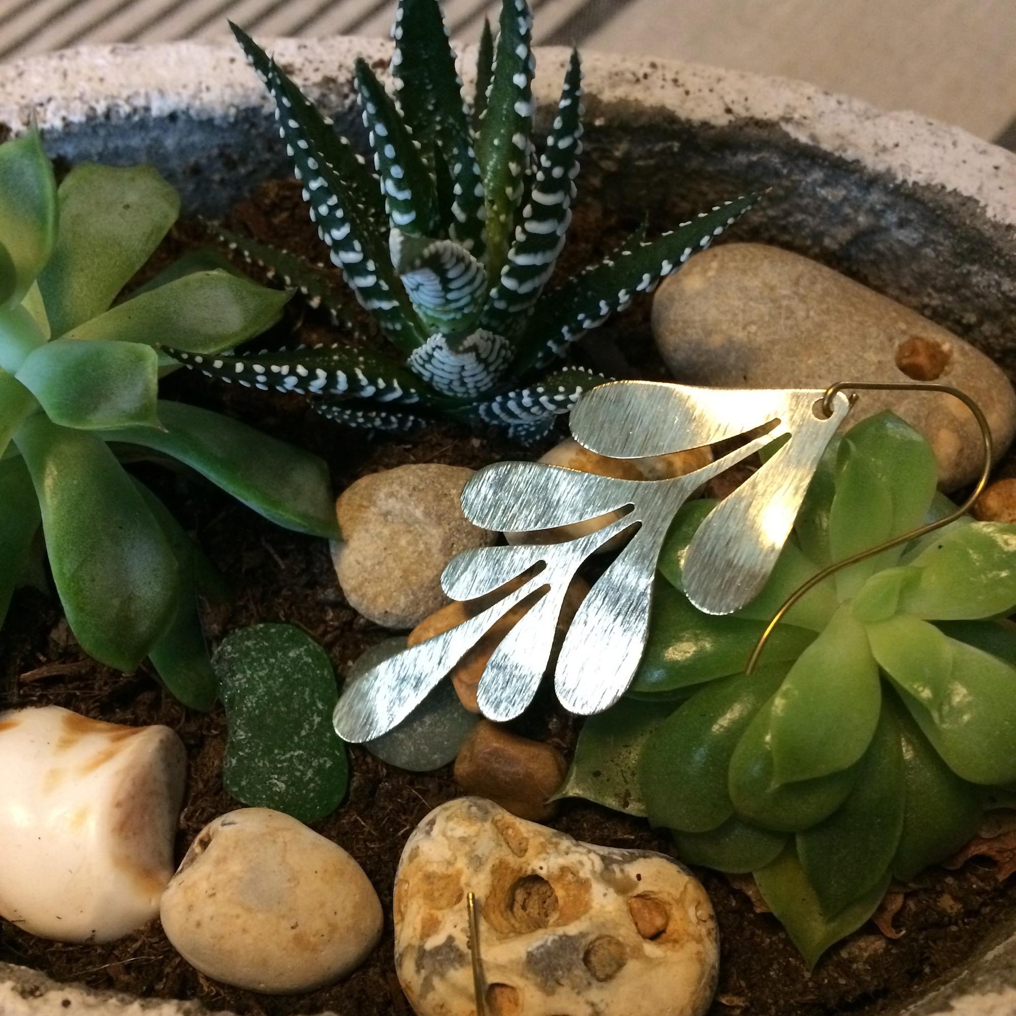 Irth Brass Organic Leaf Earrings