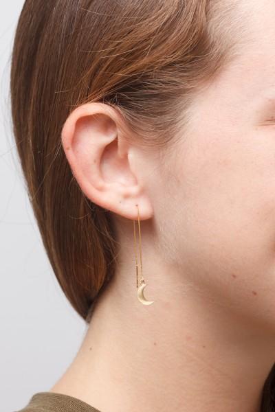 Brass Moon Long Thread Earrings