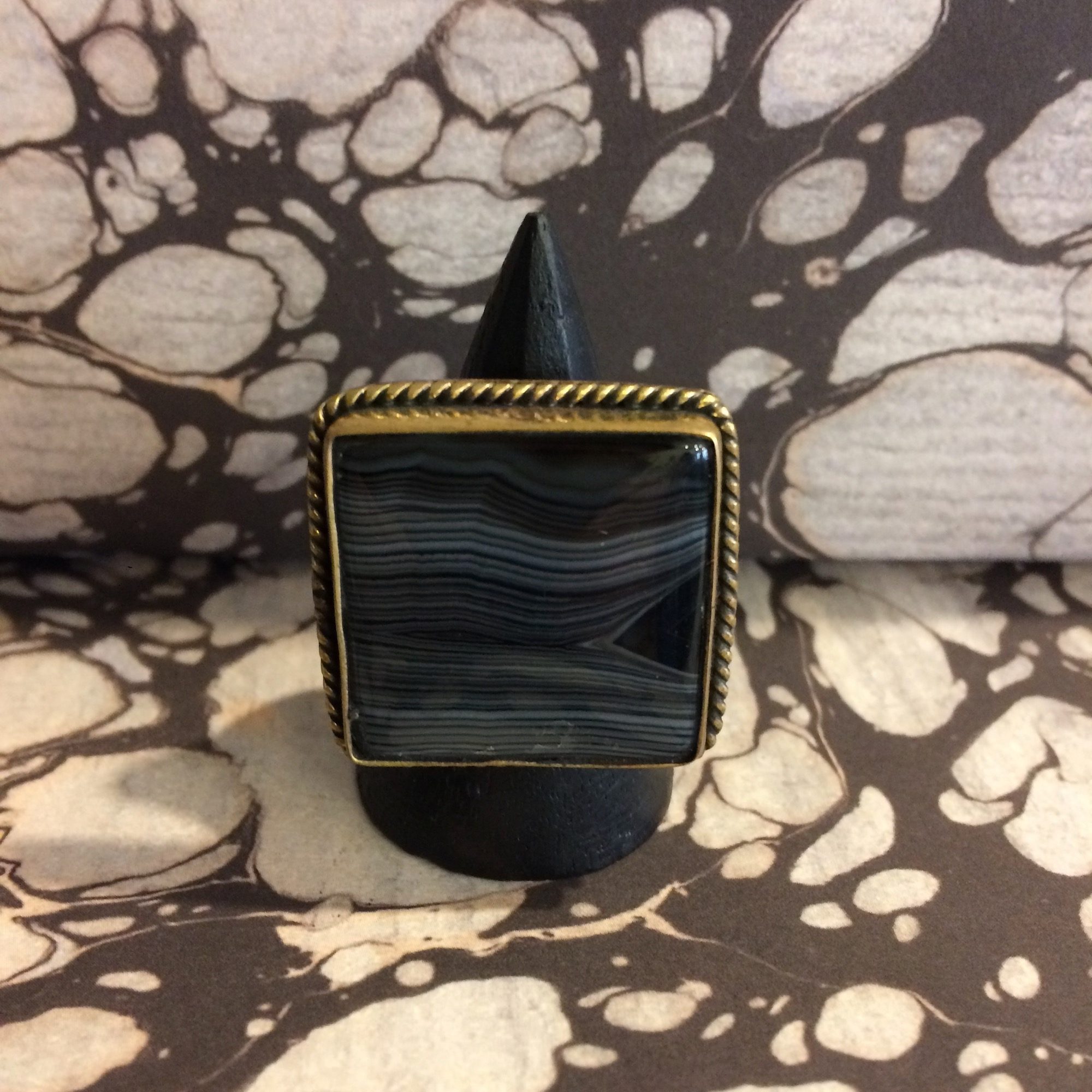 Egyptian Brass Ring with Large Square Black Stone - Sale!