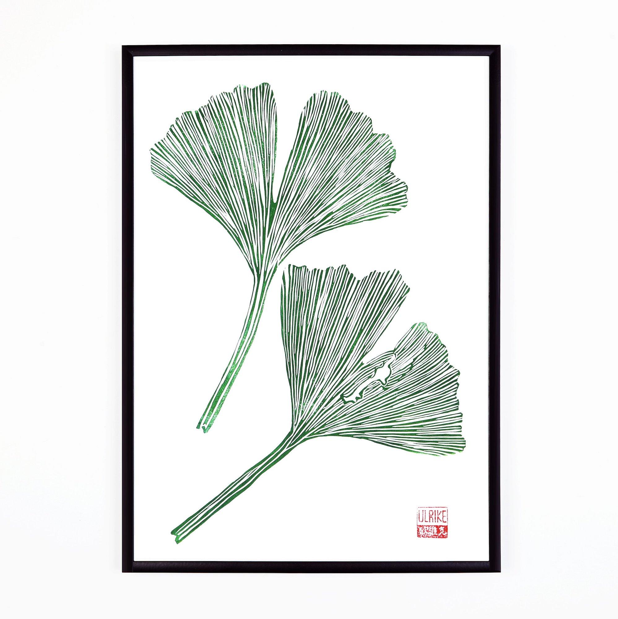Ginkgo Leaves Lino Print by Studio Wald