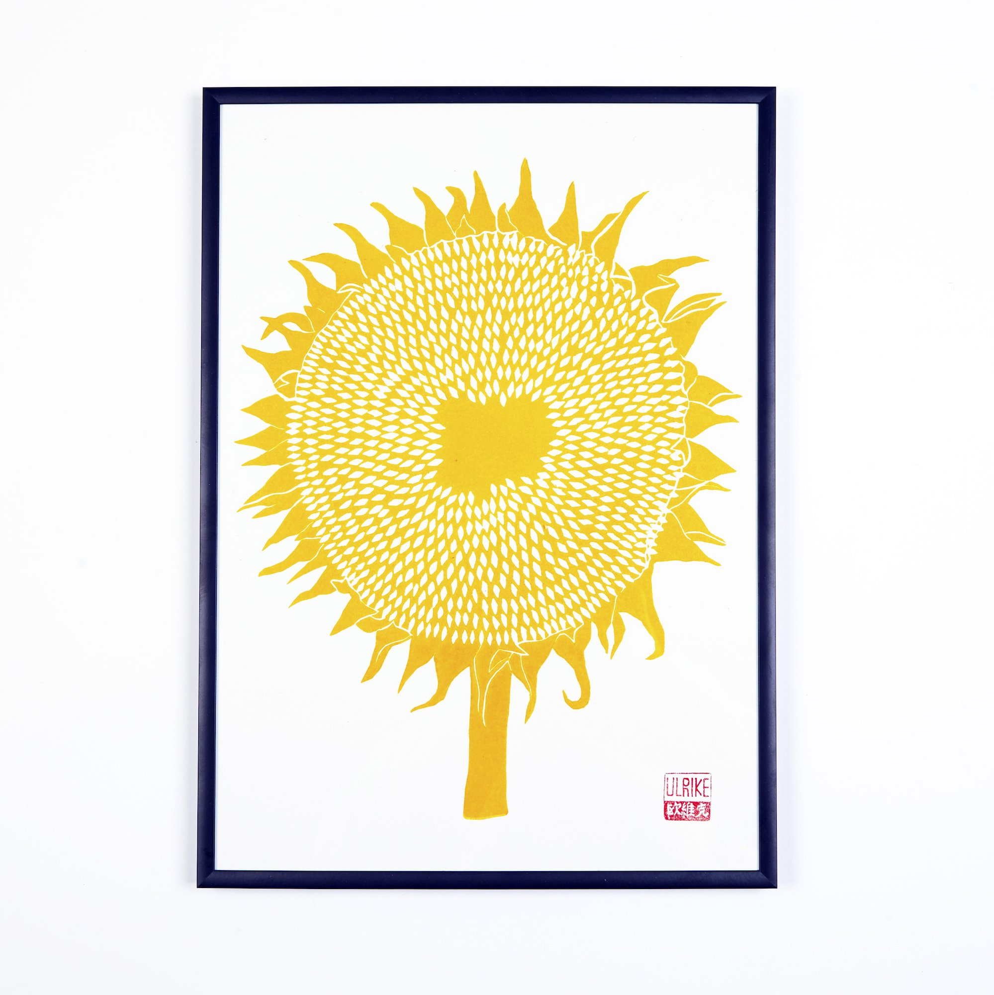Sunflower Lino Print by Studio Wald