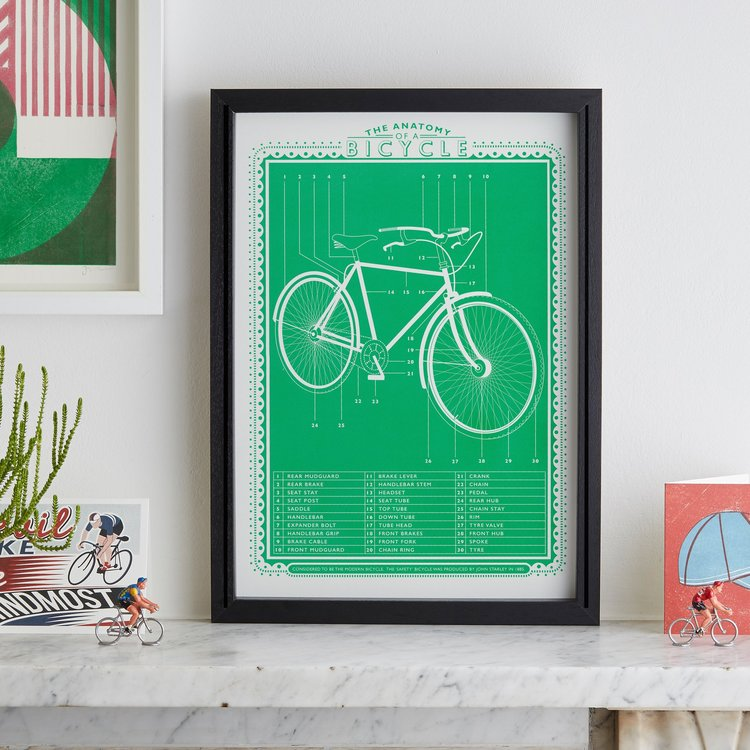 The Anatomy of a Bicycle A3 Screen Print by Pressed & Folded