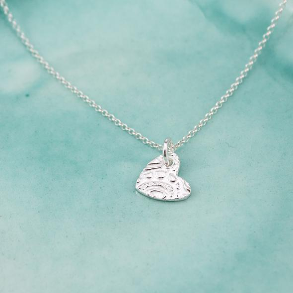 Textured Silver Small Heart Pendant by Lucy Kemp