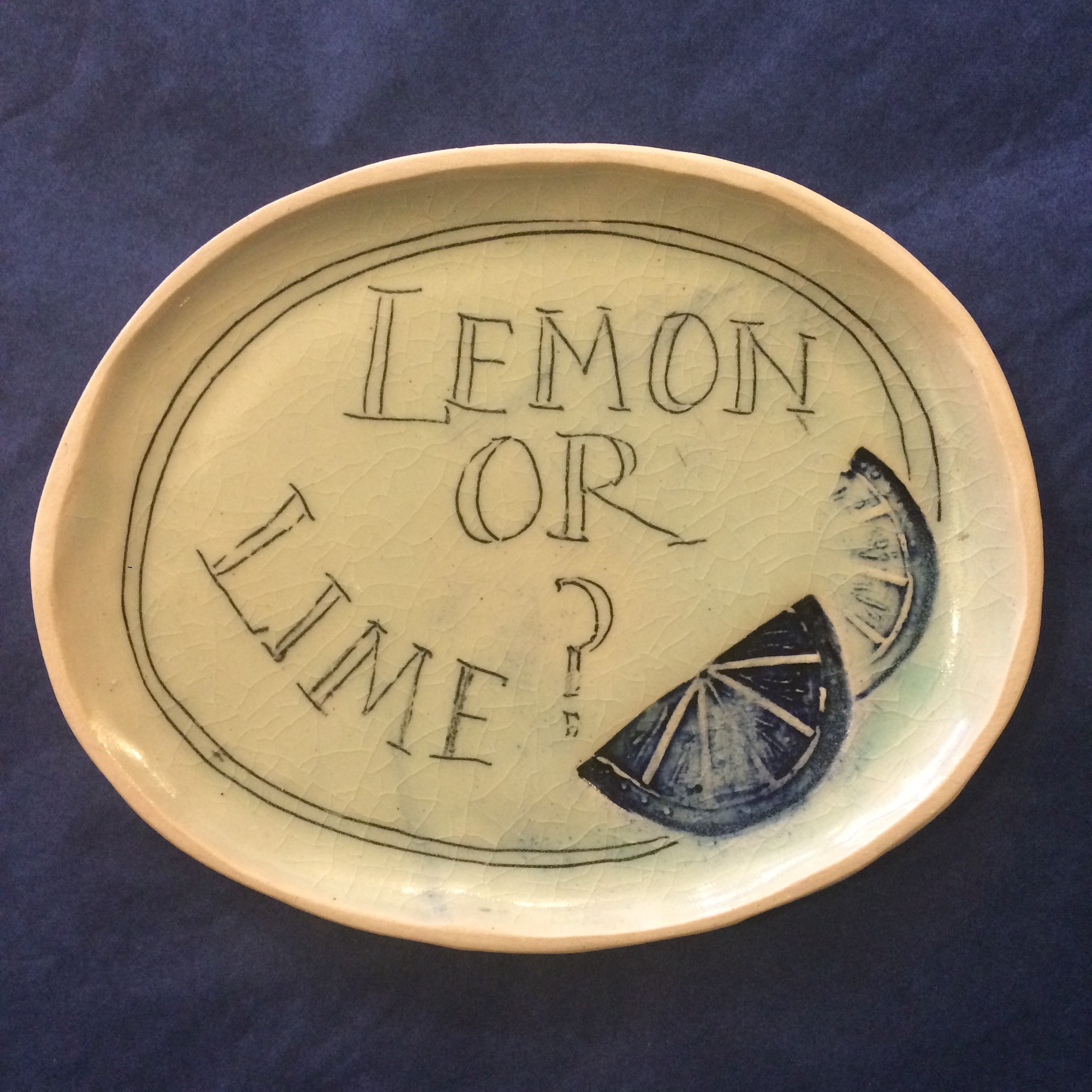 Handmade Lemon or Lime Gin Lovers Plate by Fiona Veacock