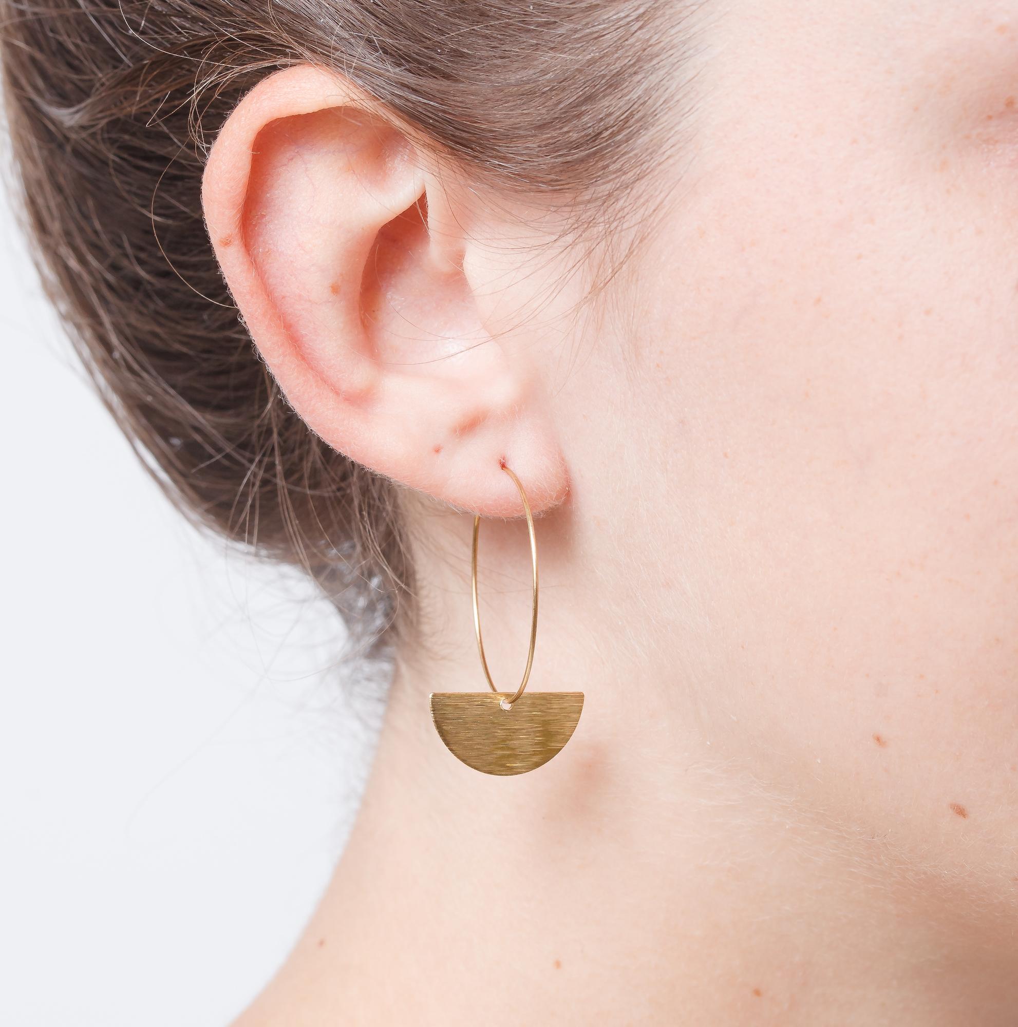 Medium Brass Creole Hoop Earrings with Big Semi Circle