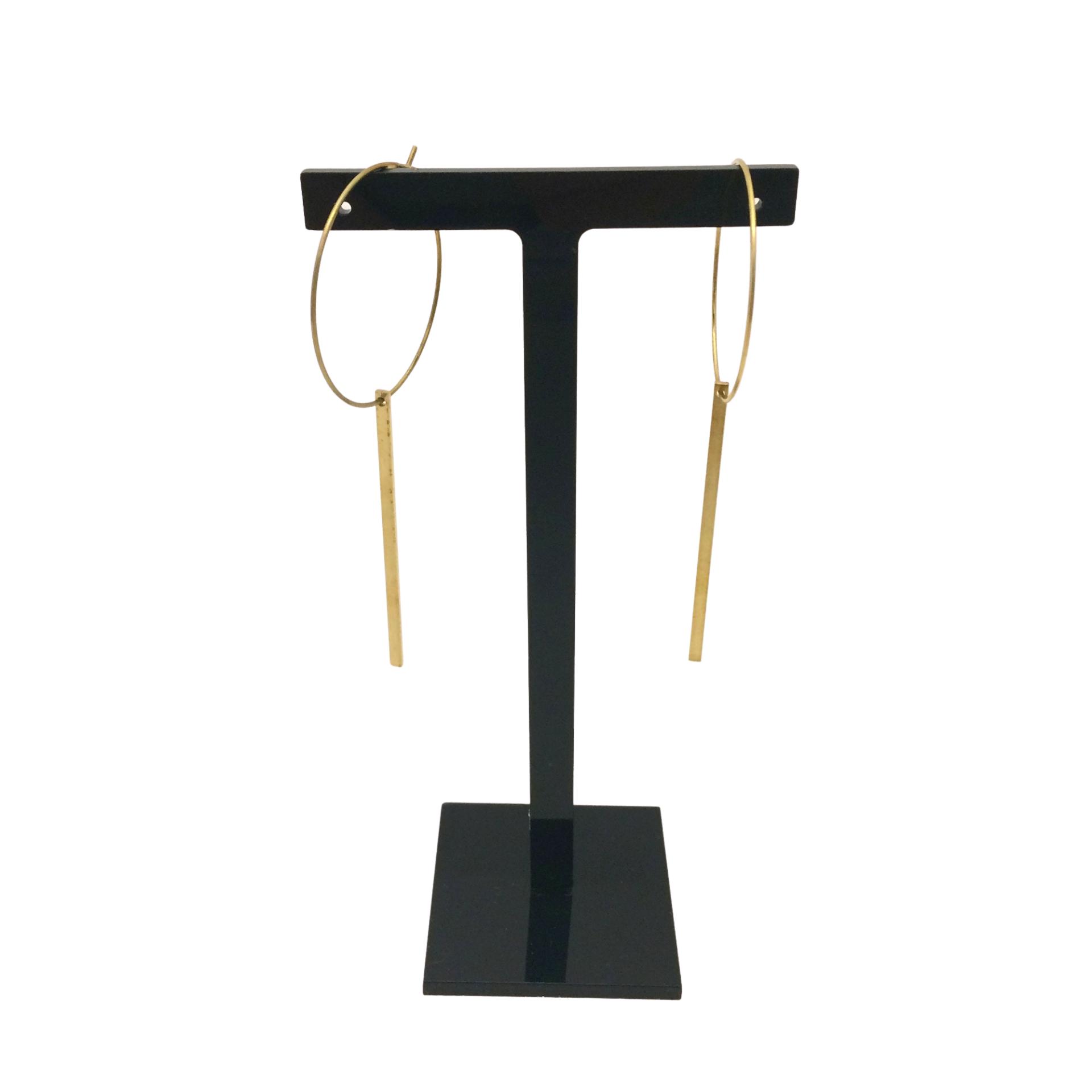 Irth Long Bar Medium Brass Hoops