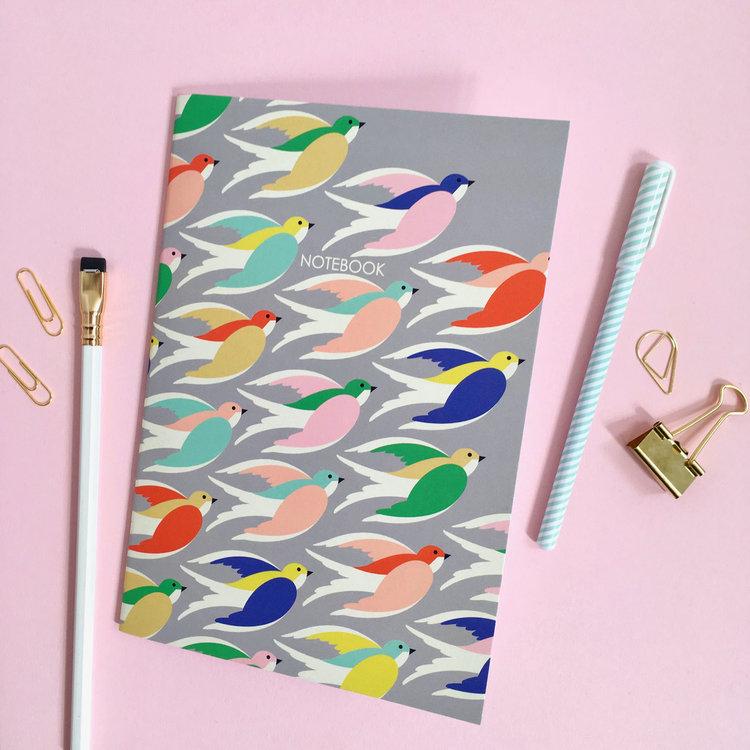 A5 'Colourful Birds in flight' Notebook by Elvira Van Vredenburgh