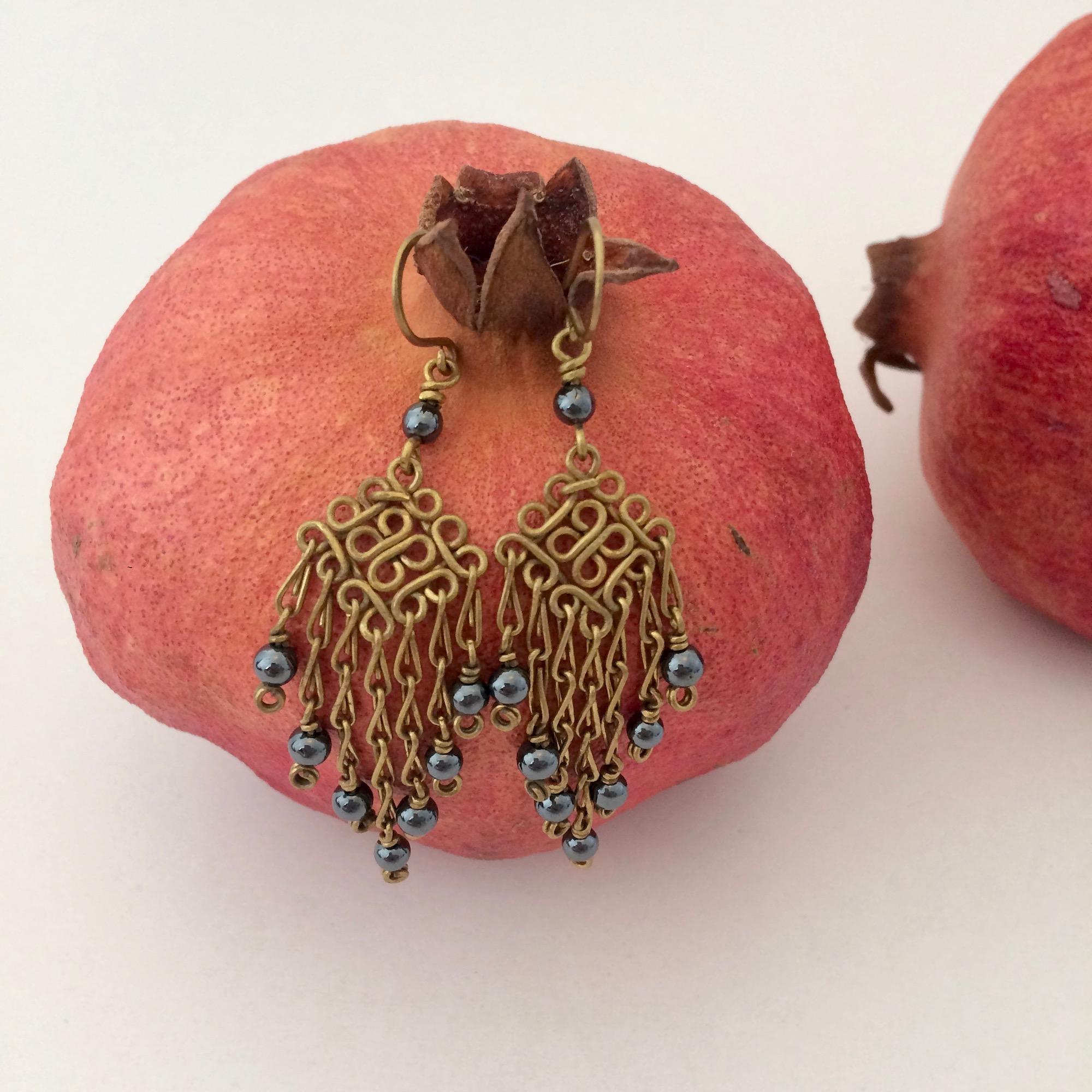 Brass & Hematite Chandelier Earrings