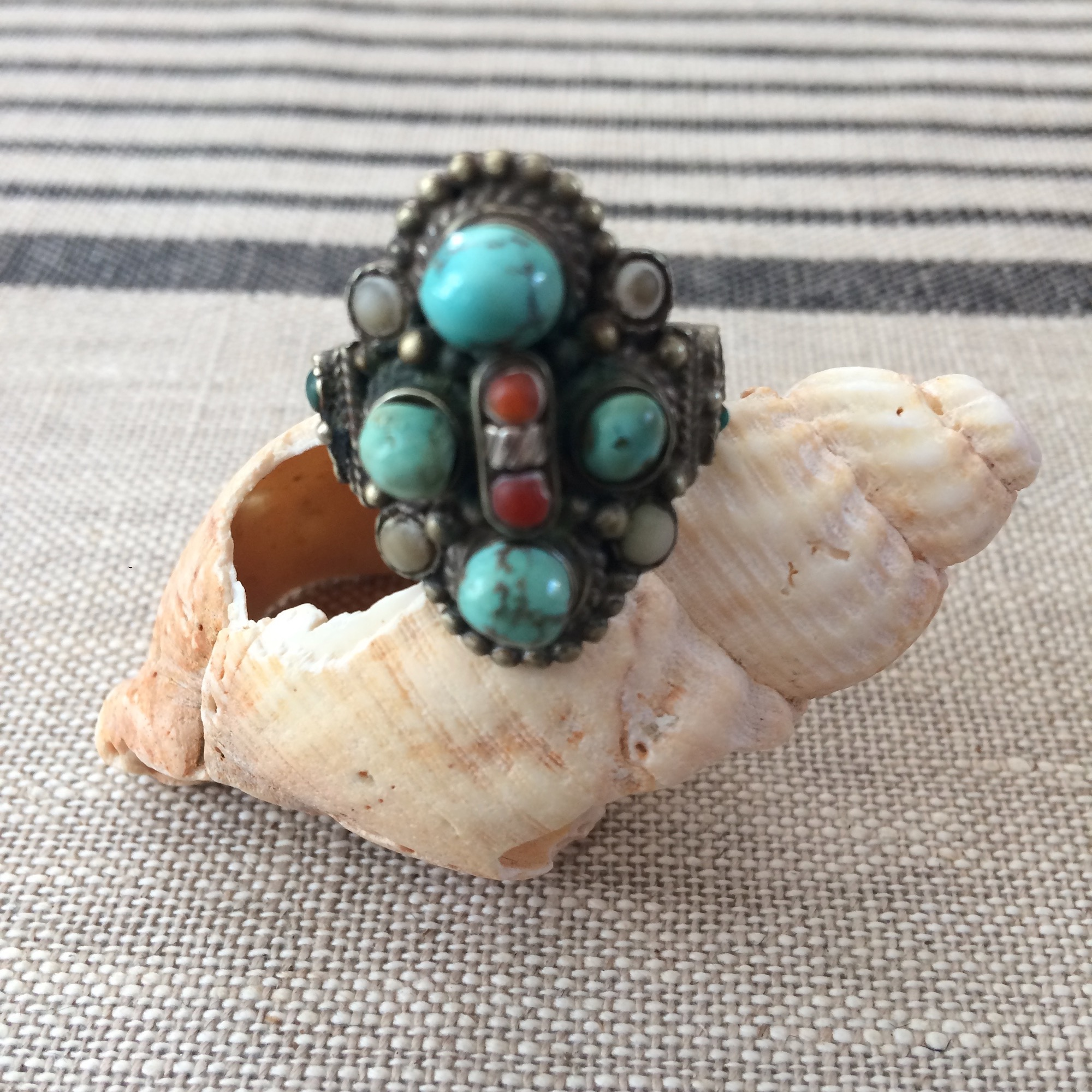 Vintage Bedouin Silver & Turquoise Ring