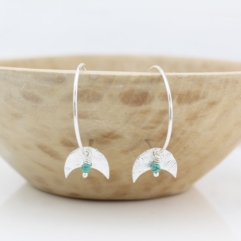 Silver Moon and Turquoise Hoops by Lucy Kemp