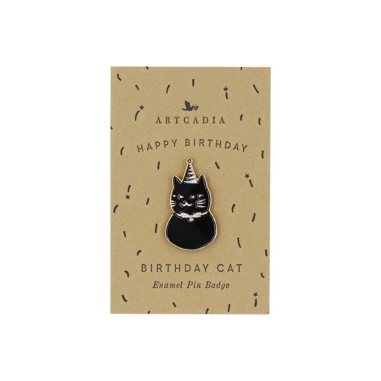 Birthday Cat Enamel Pin Badge by Artcadia