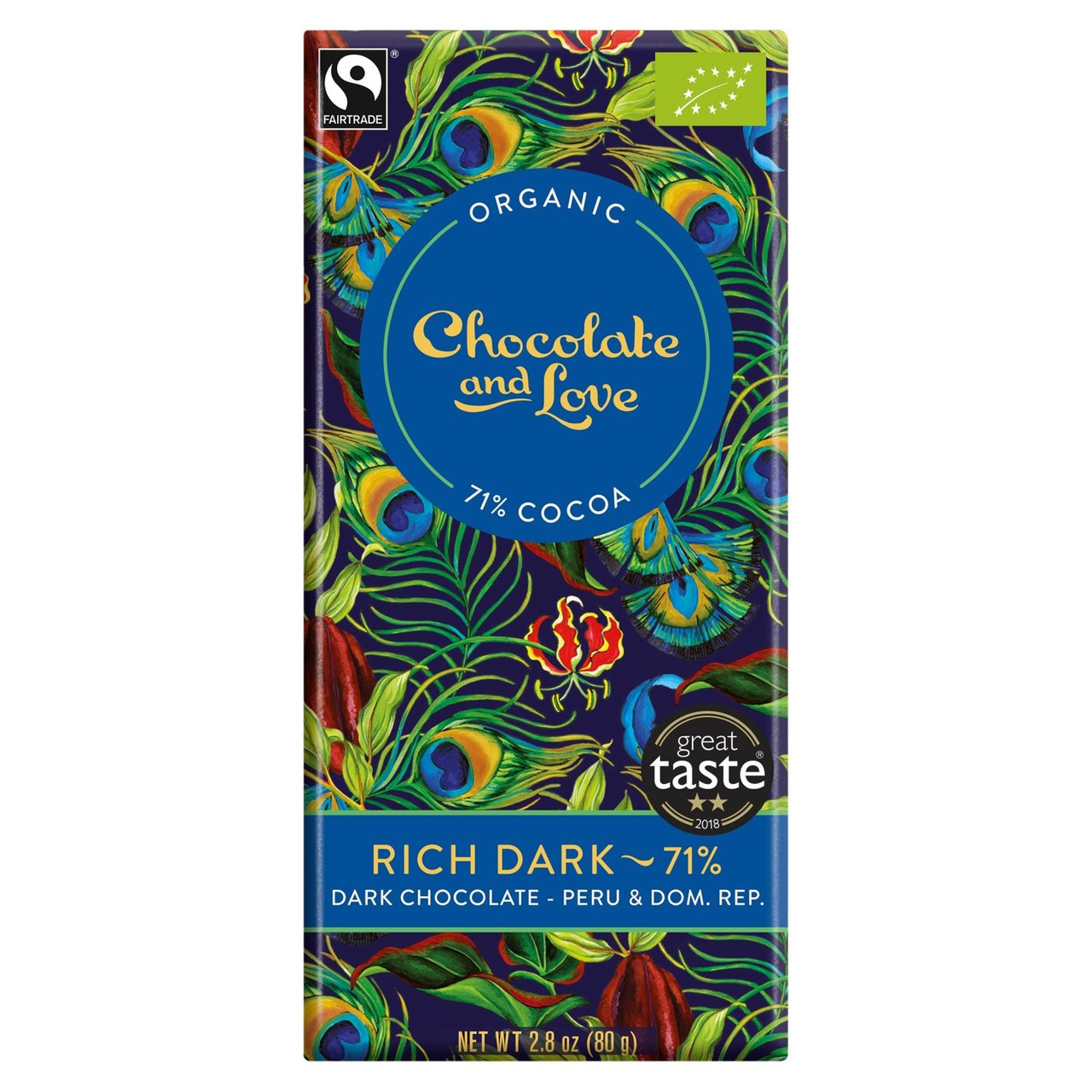 Rich Dark 71% Chocolate & Love Organic Fairtrade Chocolate Bar