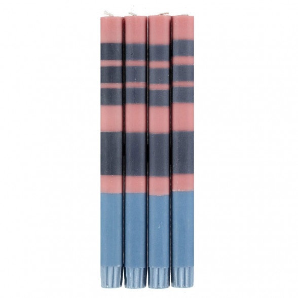 Old Rose, Indigo & Pompadour Set of Striped Eco Dinner Candles by British Colour Standard