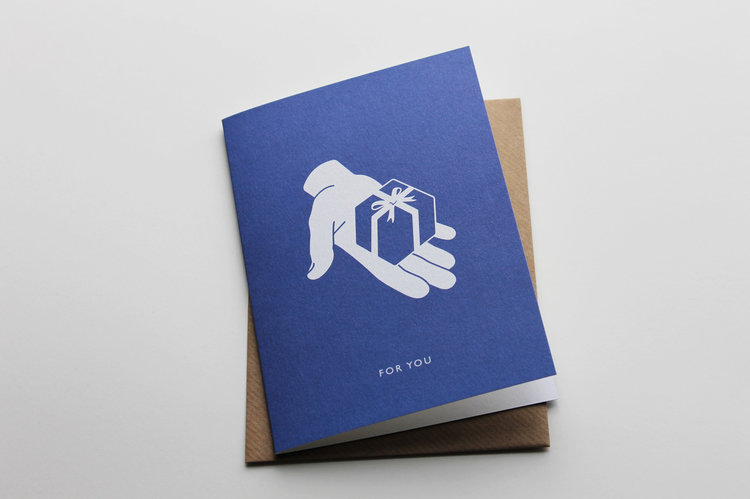 Litho printed 'For You' card by Pressed & Folded