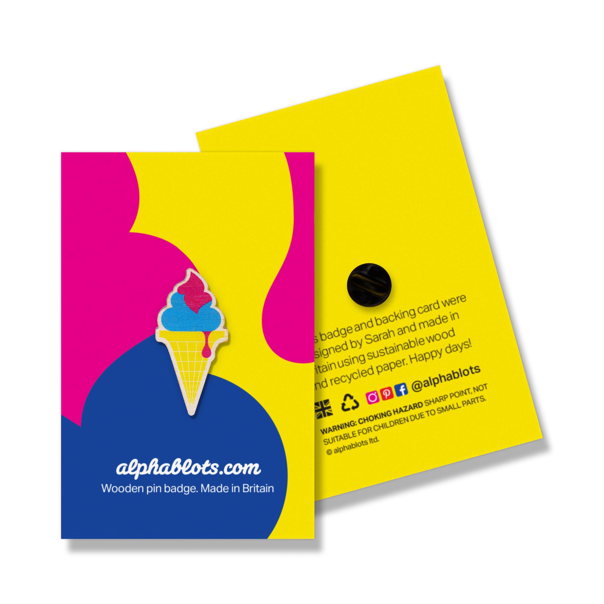 Ice cream pin badge by Alphablots
