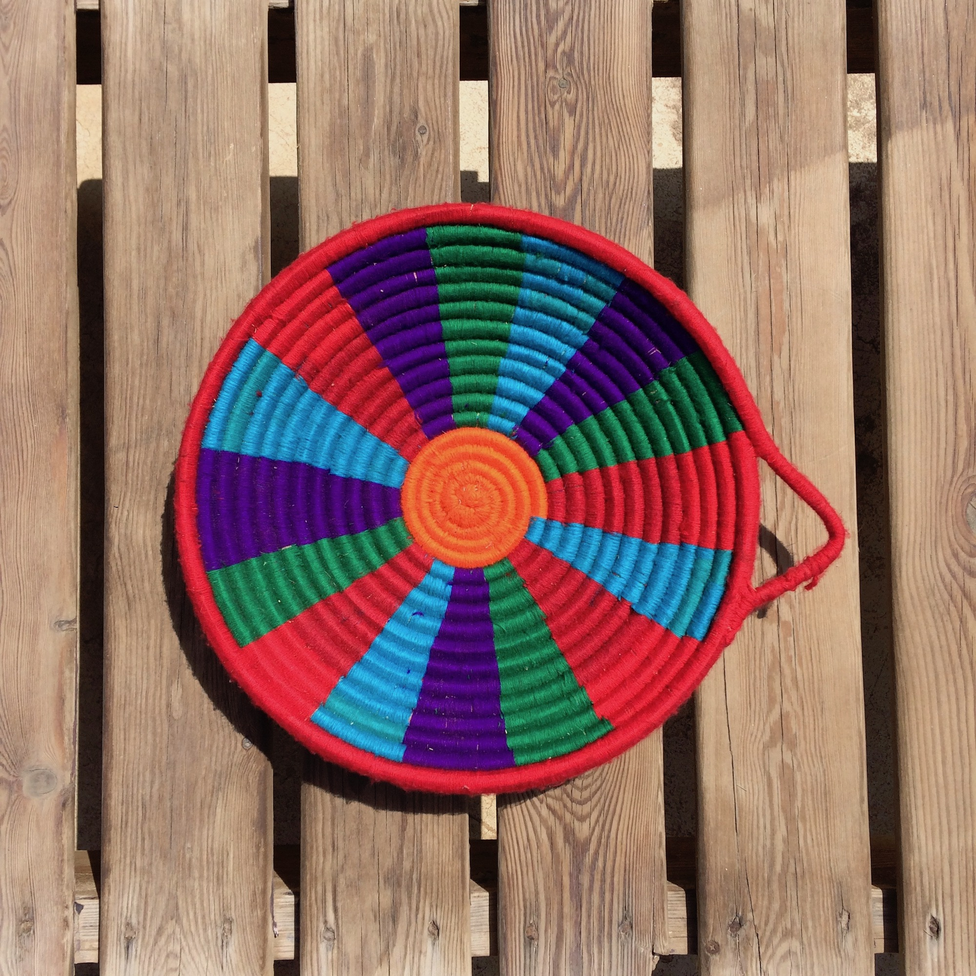 Handwoven Colourful Egyptian Basket from Aswan