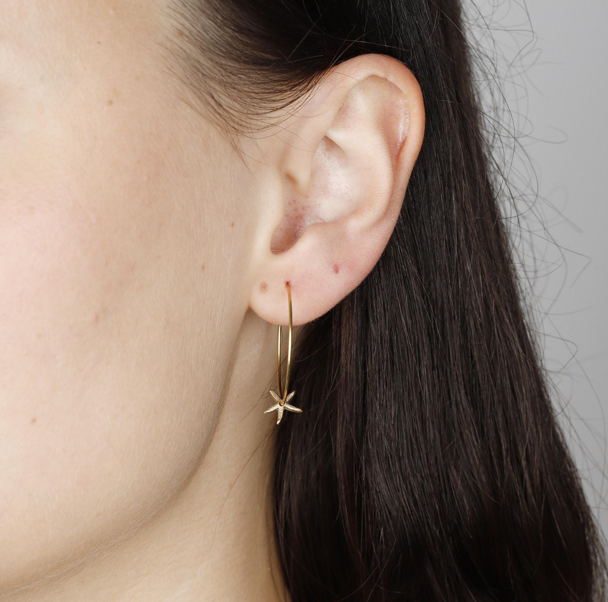 Medium Brass Starfish Hoop Earrings