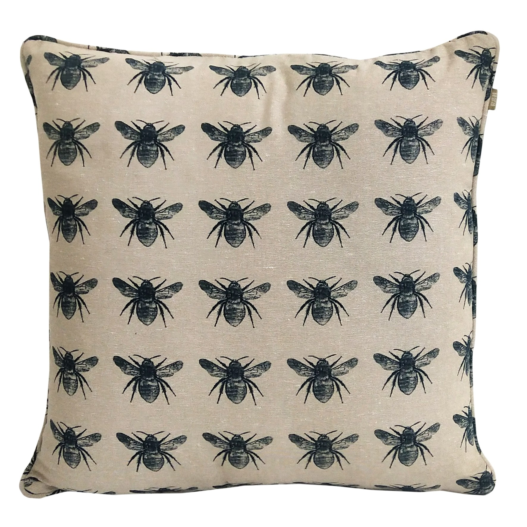 Honey Bee Cushion in Prussian Blue