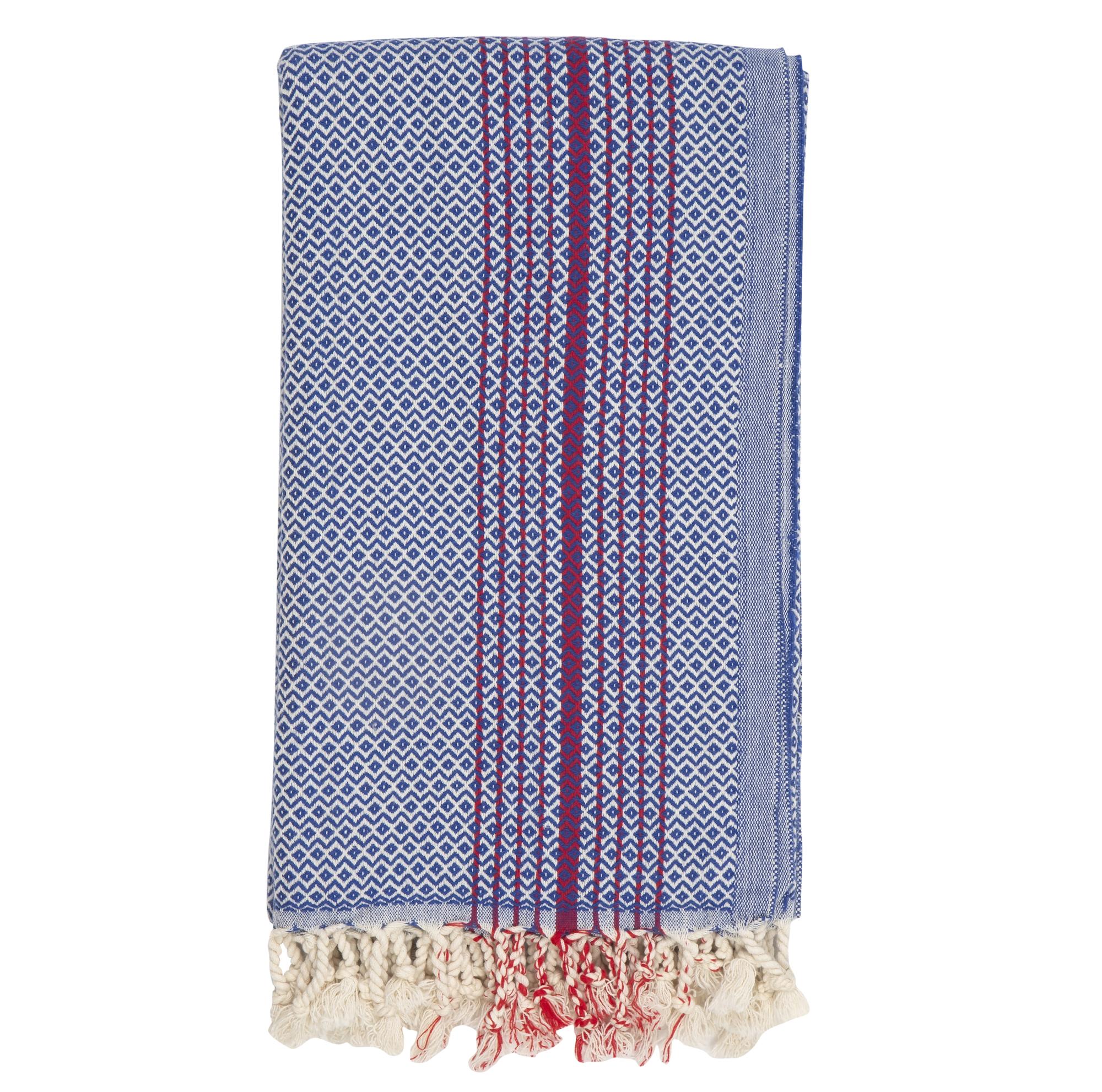 Hammam Towel in Dark Blue with Red Stripes