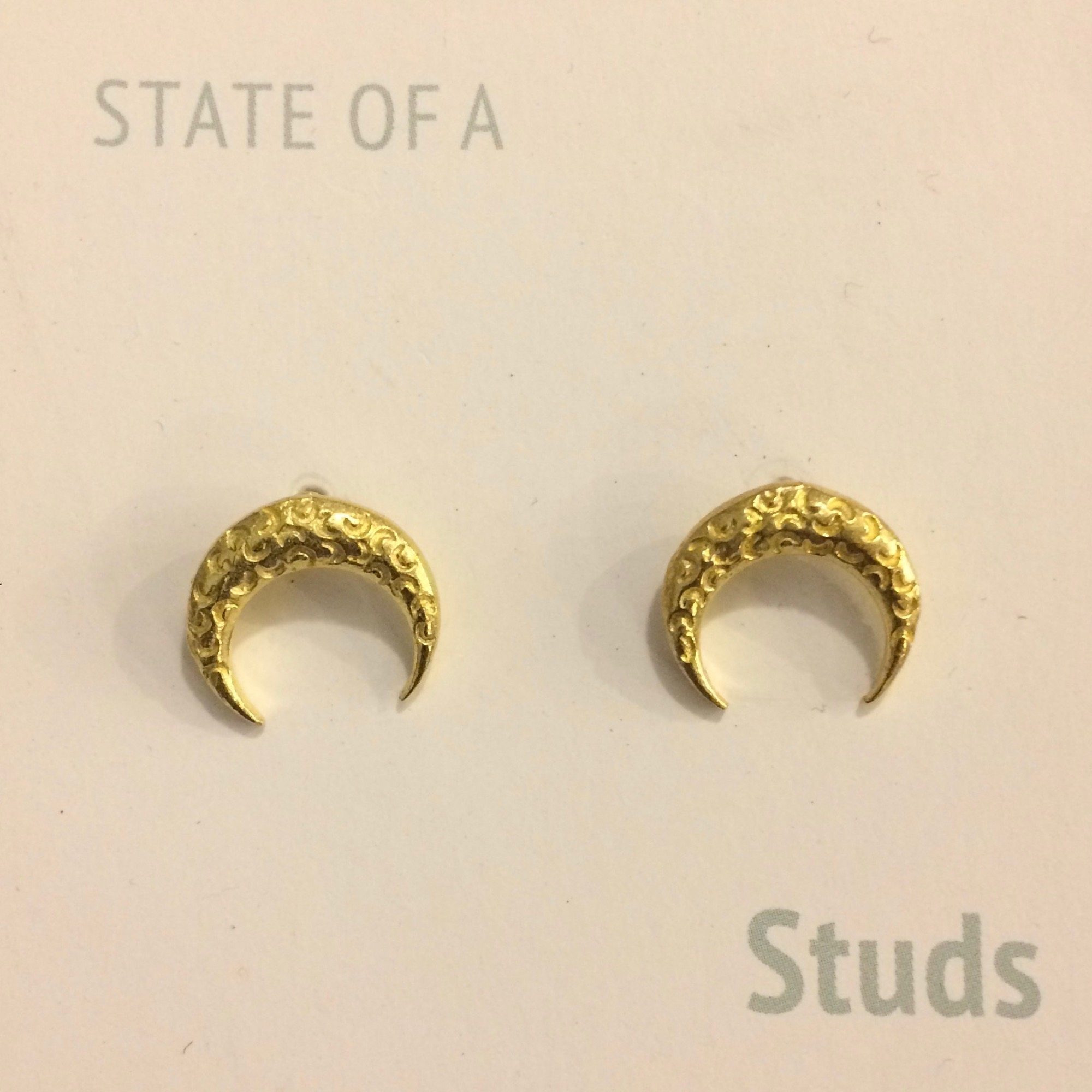 Textured Brass Moon Studs by State of A