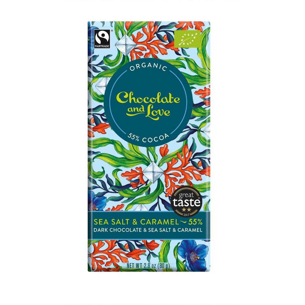 Sea Salt Caramel Chocolate & Love Organic Fairtrade Chocolate Bar