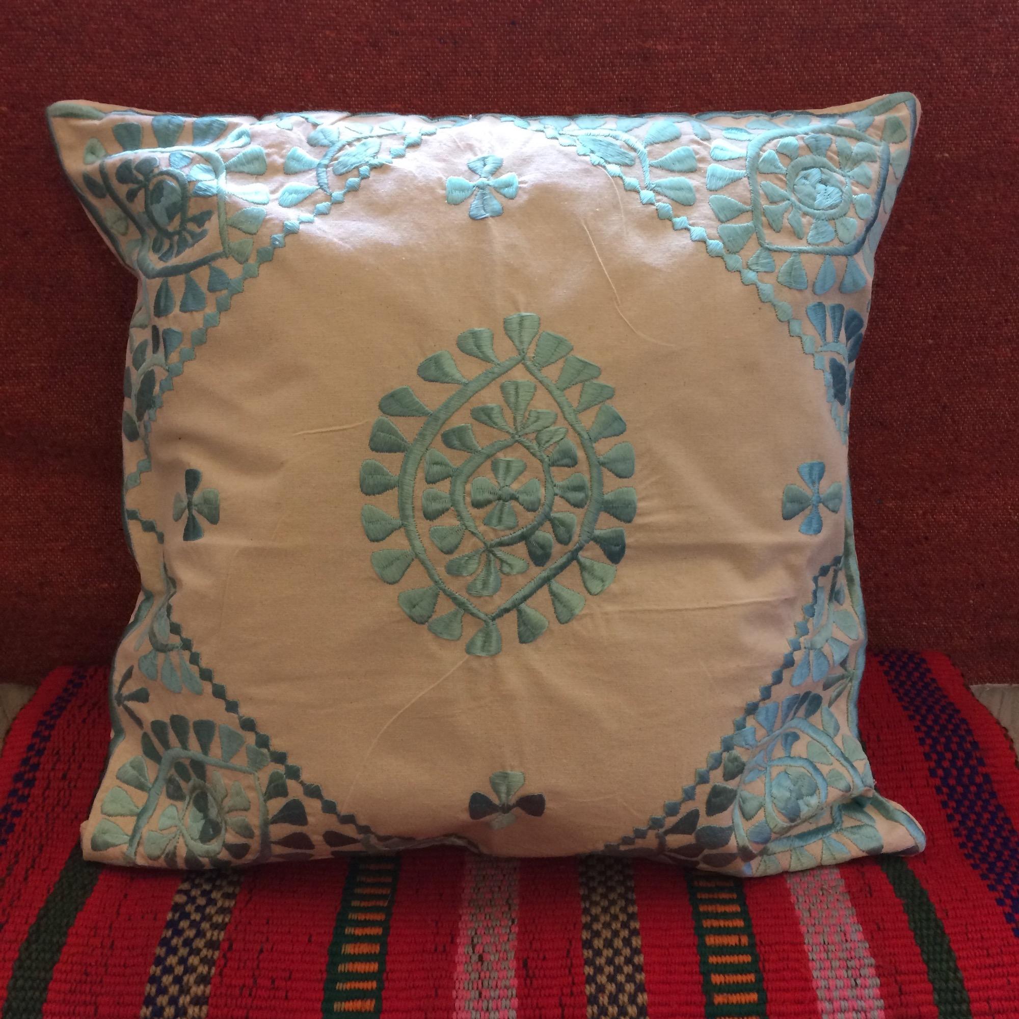 Moroccan Embroidered Cushion - Aqua Blue