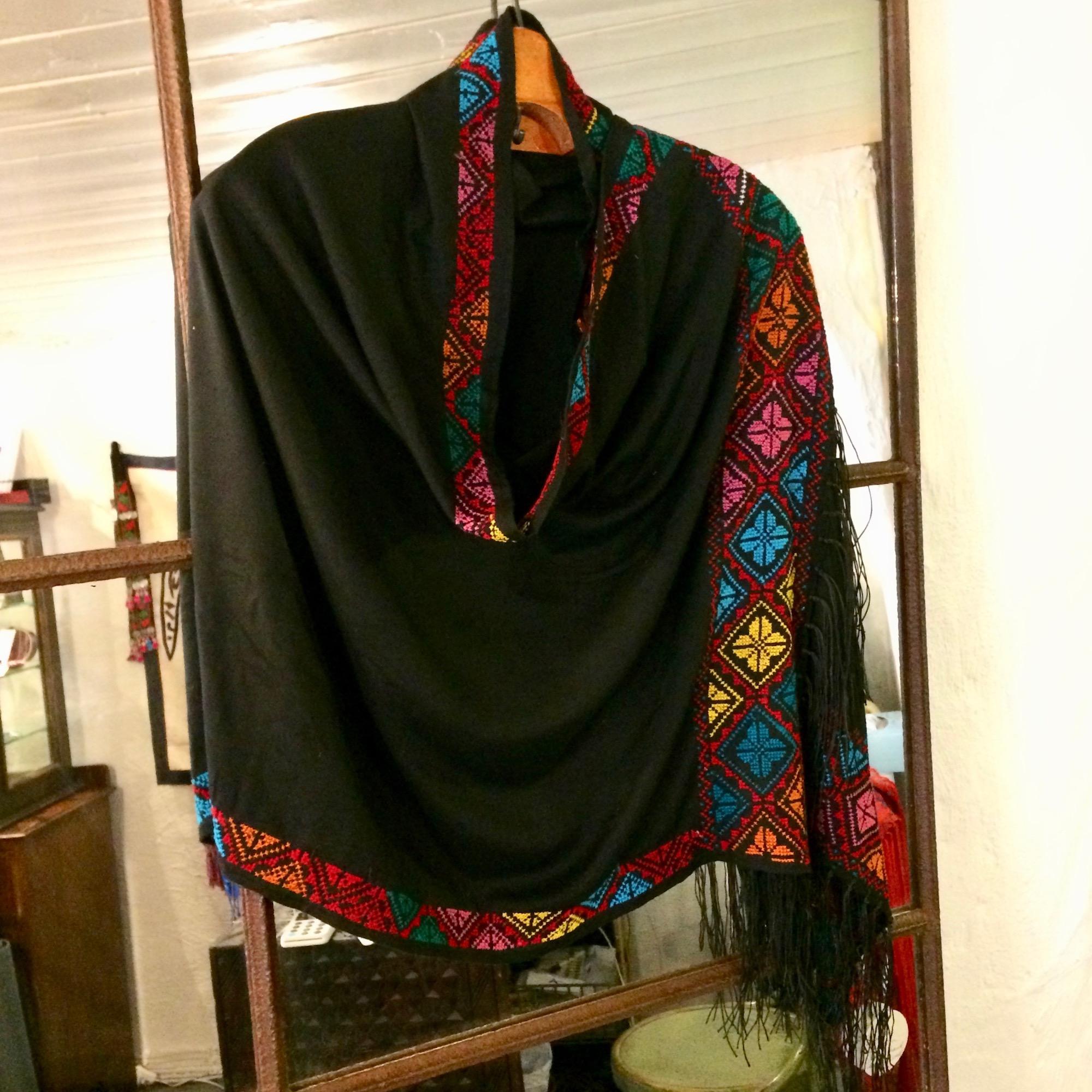 Bedouin Hand-embroidered Rectangular Fringed Shawl