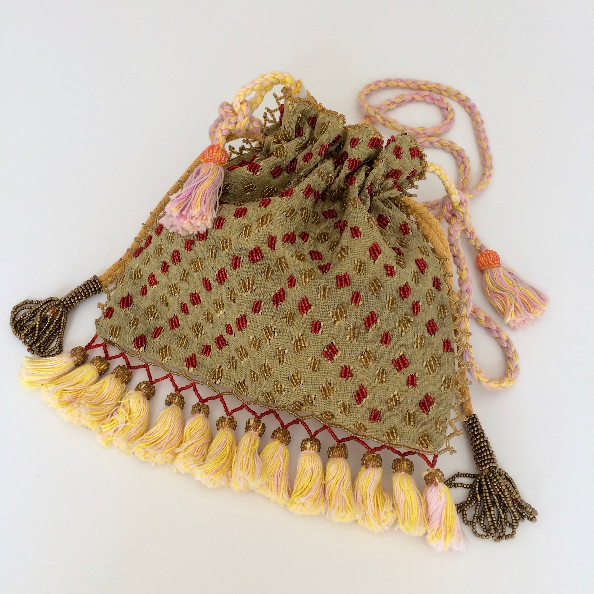 Bedouin Beaded Drawstring Shoulder Bag with Tassels