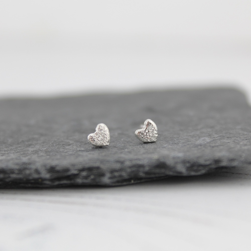 Silver Mini Heart Studs by Lucy Kemp