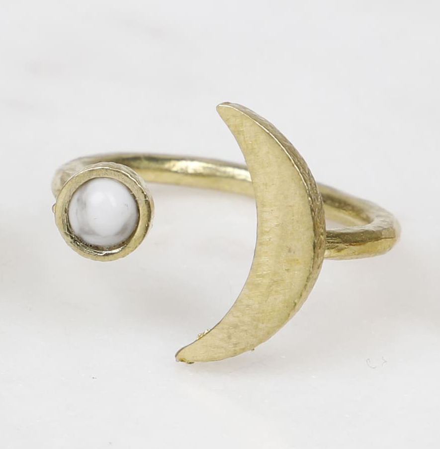 Moon & Gemstone Brass Ring by State of A