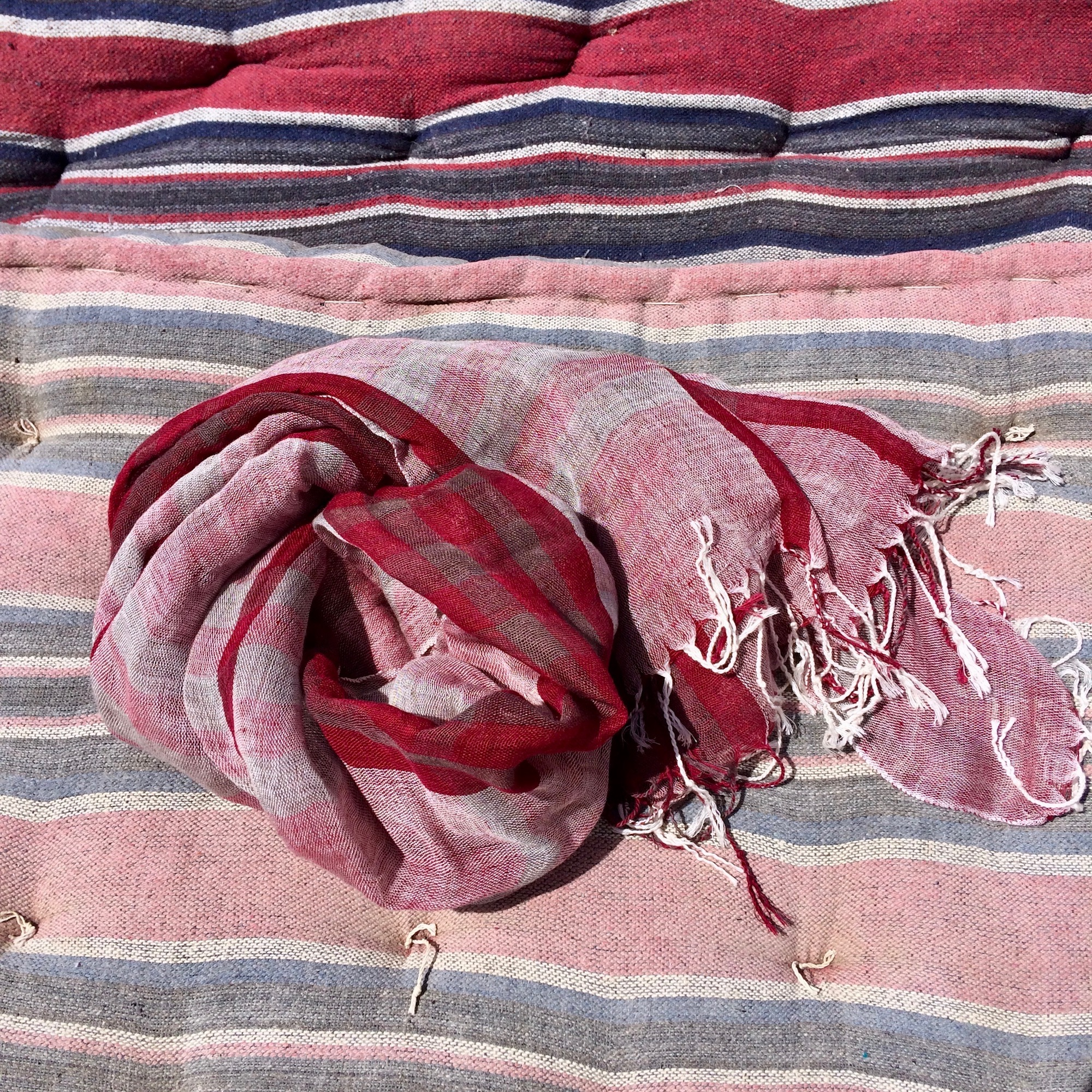 Egyptian Lightweight Red Plaid Scarf